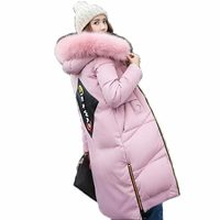 Thicker Hooded Artificial Fur Collor Winter Jacket Women Warm Long Slim Hooded Parka Coats Casual Jaqueta