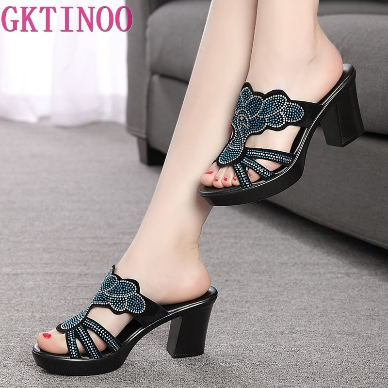 2019 summer women fashion high heel sandals flock surface female slippers rhinestone women shoes plus size 35-422019 summer women fashion high heel sandals flock surface female slippers rhinestone women shoes plus size 35-42
