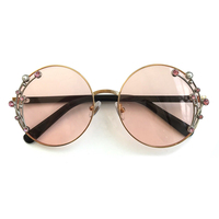 2019 Metal Frame Round Sunglasses Women Luxury Brand Designer Diamonds Sun glasses High Quality Shades Female UV400 With Box