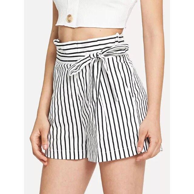 b4f5797d5edf Hot Sale European Style Women Shorts Striped Elastic Waist Self Tie Shorts  Womens Grey High Waist Shorts Summer Straight Shorts