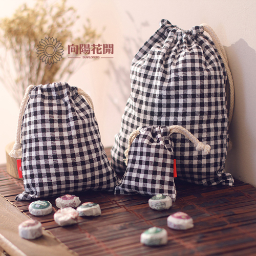 Cotton cloth zakka storage bag classic black and white tote lattice derlook underwear travel storage bag