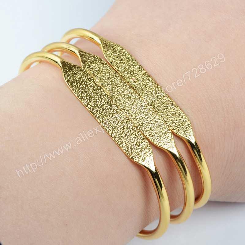 ... BOROSA Gold   Silver Color Brass Blank Bangle Settings Golden Flat Cuff  Bracelet Bangle Making PJ026 ... 0f1de777c45b