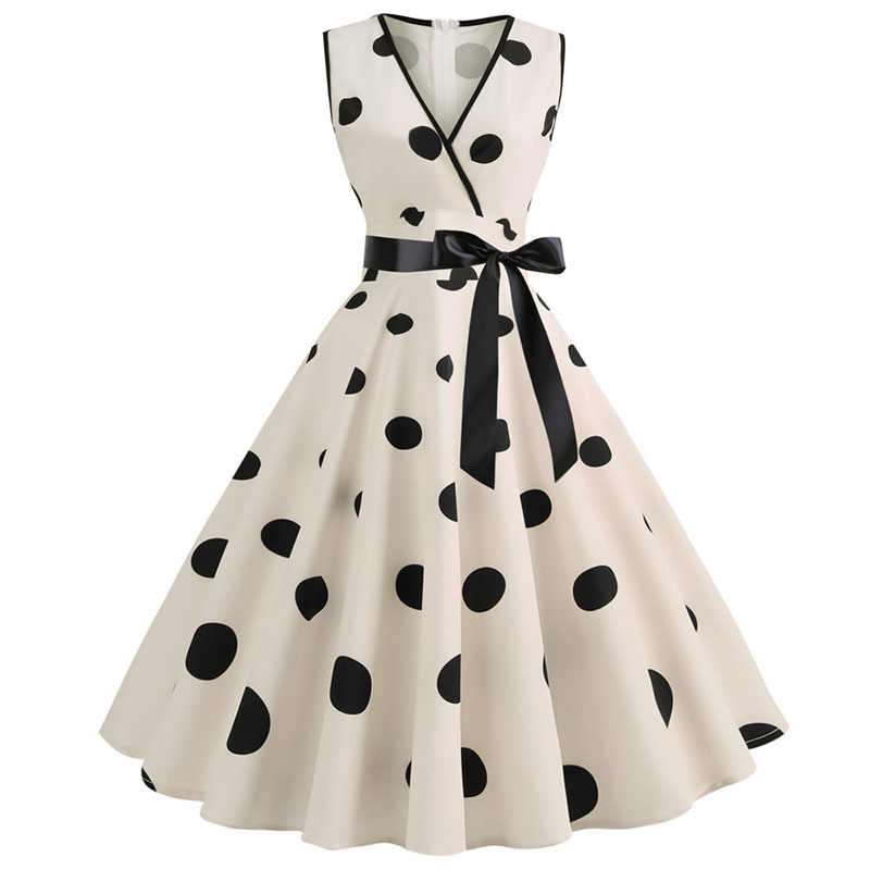 Women Summer Dresses Robe Audrey Hepburn 50s 60s Rockabilly Polka Dot Bow Pinup Ball Grown Party Dresses Plus Size Vestidos