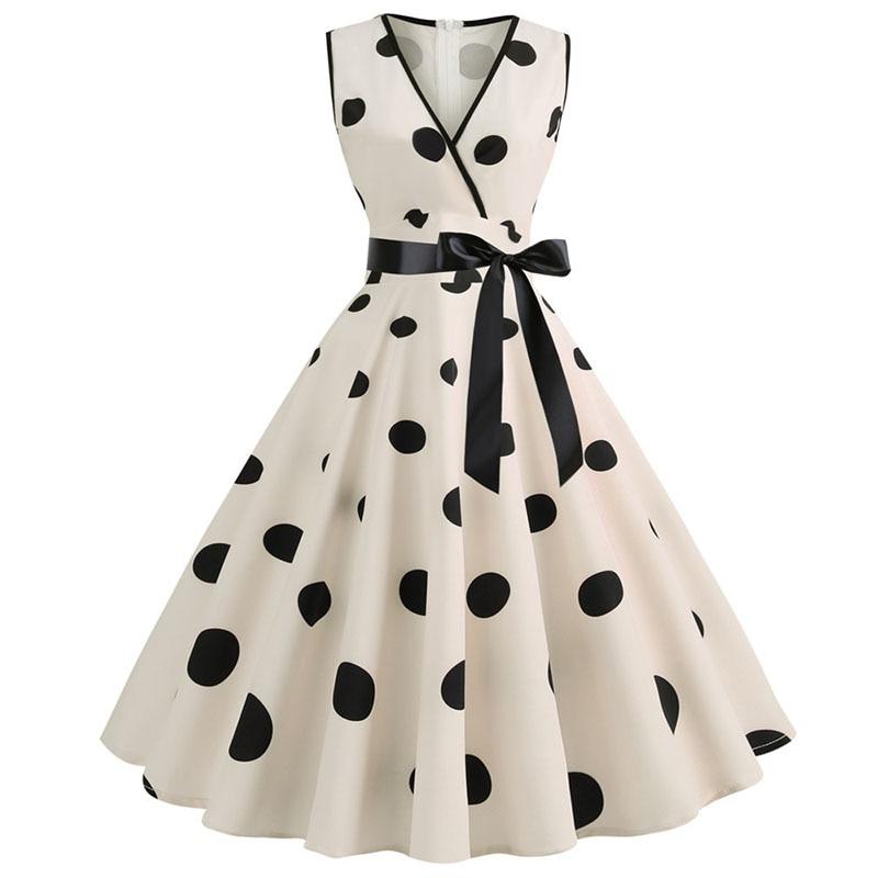 Women Summer Dresses Robe Audrey Hepburn 50s 60s Rockabilly Polka Dot Bow Pinup Ball Grown Party Dresses Plus Size Vestidos