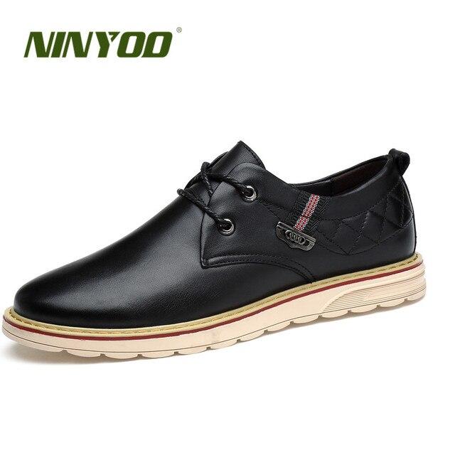 NINYOO 2018 Men's Casual Shoes Platform Genuine Leather Shoes Breathable Fashion Shoes Comfortable Flats Shoes Plus Size36 45 46