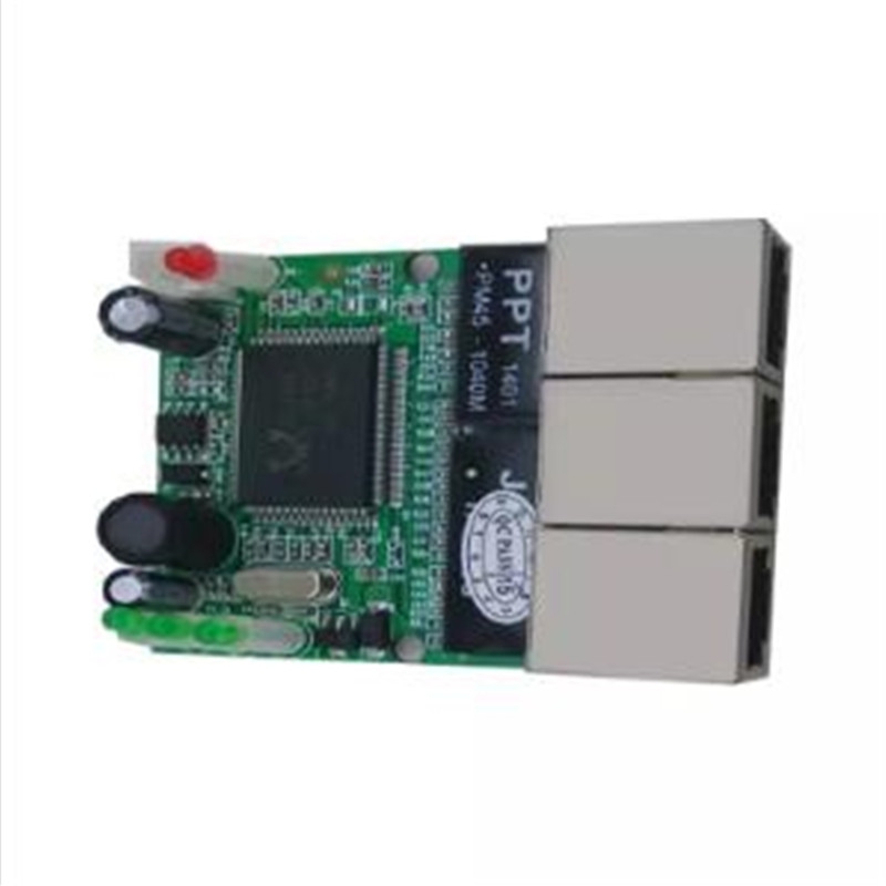 OEM switch mini 3 port ethernet switch 10 / 100mbps rj45 network switch hub pcb module board for system integration 3