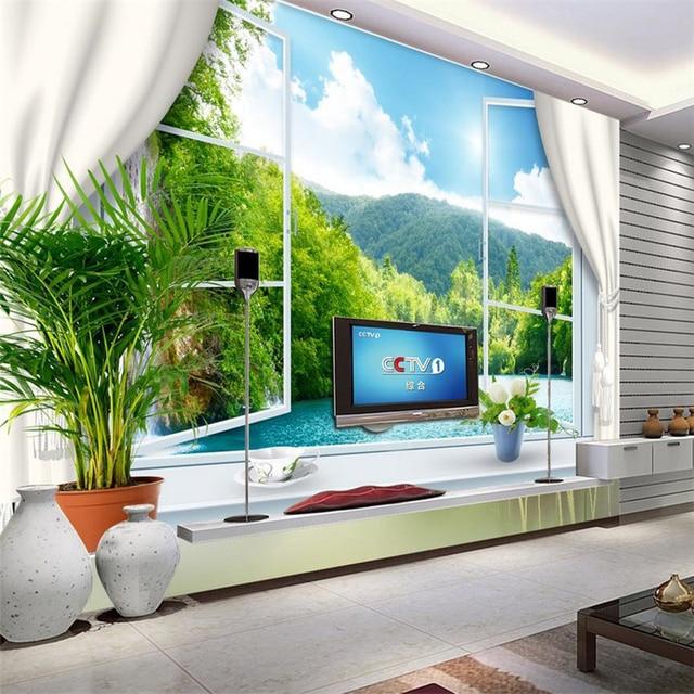 Beibehang Customize HD Mural 3d Wallpaper Window Sea