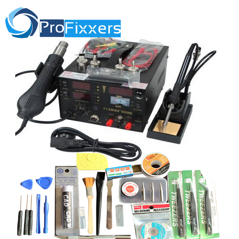 цена на high quality genuine saike 909D hot air gun rework station with Soldering station power 3 in1 220V or 110V 700W Send Free gifts