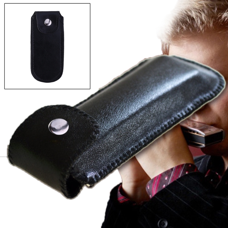 10 Holes Harmonica Leather Case With Buckle Artificial Leather Storage Bag for Student