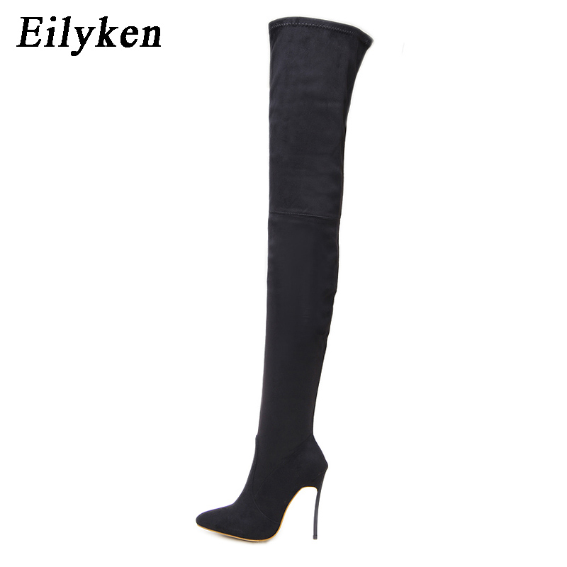 Eilyken Autumn Winter Womens Stretch Fabric Over The Knee Thigh High Long Boots Booties Square heel Women Boot Brown Black individual red cup heel over the knee boots chunky heel stretch long booties winter thigh high boots