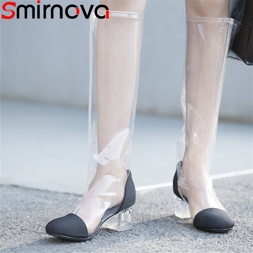 Smirnova new shoes woman square toe classic ladies fashionable dress boots boots mixed colors genuine leather knee high boots