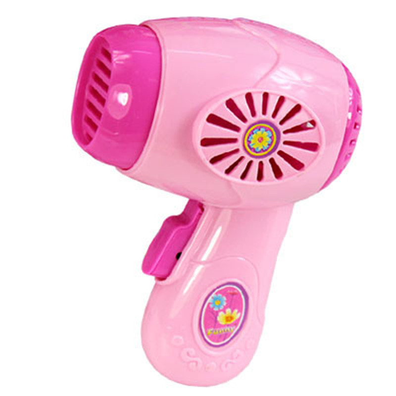 Mini Pink Hair drier home electrical appliances toy Children House Pretend Play  light Kitchen Furniture toy Cosplay For kids