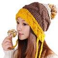 Зима шапочка теплая мода классический пэчворк плотно вязаная шапка женщины Cap шапочка головные уборы головной убор голову теплее защитные наушники