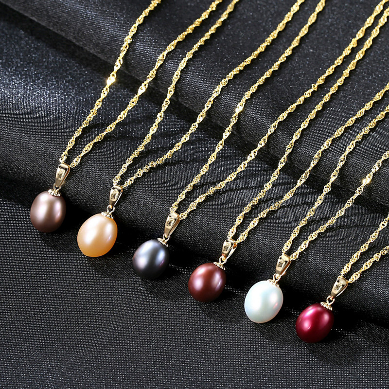 18K Gold Pearl Necklace Pendant Freshwater Pearl Jewelry Necklaces&Pendant White/Red/Pink/Black/Wine Red/Purple Charm Necklace annular black pearl diamond pendant alloy necklace