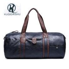 Купить с кэшбэком High Quality Handbag Large Capacity Bag for Men 2017 Vintage Mens Leather Travel Bags PU Leather Weekend Hand Bag Black B