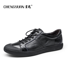Men flats genuine soft leather casual shoes flat mens black daily net leisure lace up shoe 39-44 CHENGYUAN PROMOTION