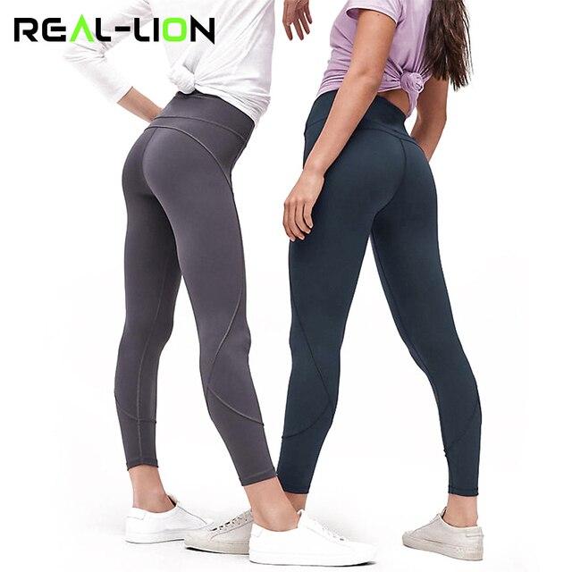 4f3b85e85e2 Reallion High Elastic Waist Fitness Sport Leggings Women Yoga Pants Running  Tights Patchwork Leggins Sportswear Trousers New