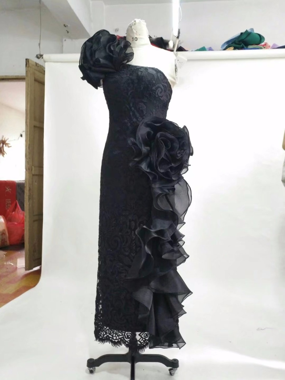 Black Lace Long One Shoulder Evening Dresses With 3D Flowers ...