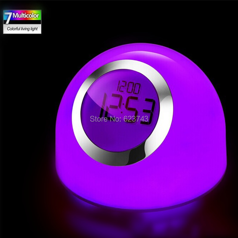 Free shipping multicolor changing LED Alarm Clock round Night Light horloge reloj despertador  led clock table lamp 2016 new 16 color changing rgb pe material led table lamps lighting for wedding atmosphere night lamp free shipping 4pcs lot
