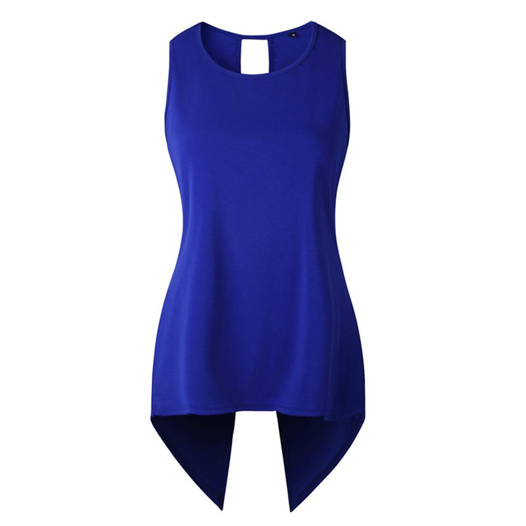 New Fashion Women Casual O-Neck Sleeveless Back Split and Asymmetrical Hem None Design Hip Length Vest Solid(China)