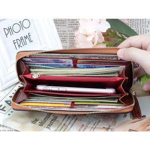 Image 2 - COMFORSKIN Long Vintage Tassel Ladies Wallet Premium Genuine Leather Unique Embossing Floral Women Zipper Purses With Hand Rope