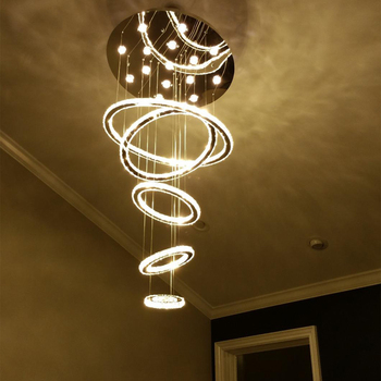 Светодиодный пятикольцевой красивый хрустальный подвесной светильник для гостиничного освещения виллы Бесплатная доставка Подвесная лам...