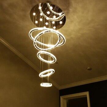 LED חמש-טבעת יפה קריסטל תליון אור עבור מלון וילה תאורת משלוח משלוח תליון מנורת כולל הנורה