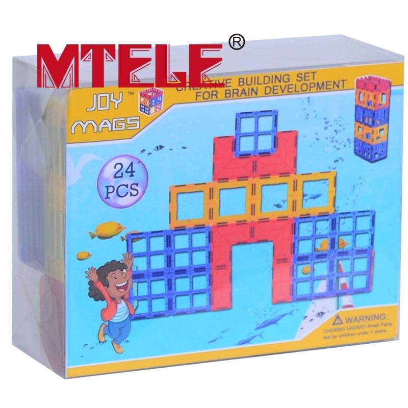 MTELE Brand Toy Bricks 26 pcs 3D Magnetic Tiles Block Designer Construction Enlighten Educational Building Bricks DIY Toy susengo magnetic toy building enlighten block designer 358pcs magnet bars