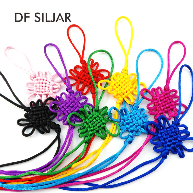 10pcs/lot Chinese Knot Rope String Terylene Cord Macrame Cord Art KeyChain Keyring Silk Cotton Tassel DIY Cords Finding Y1754 art