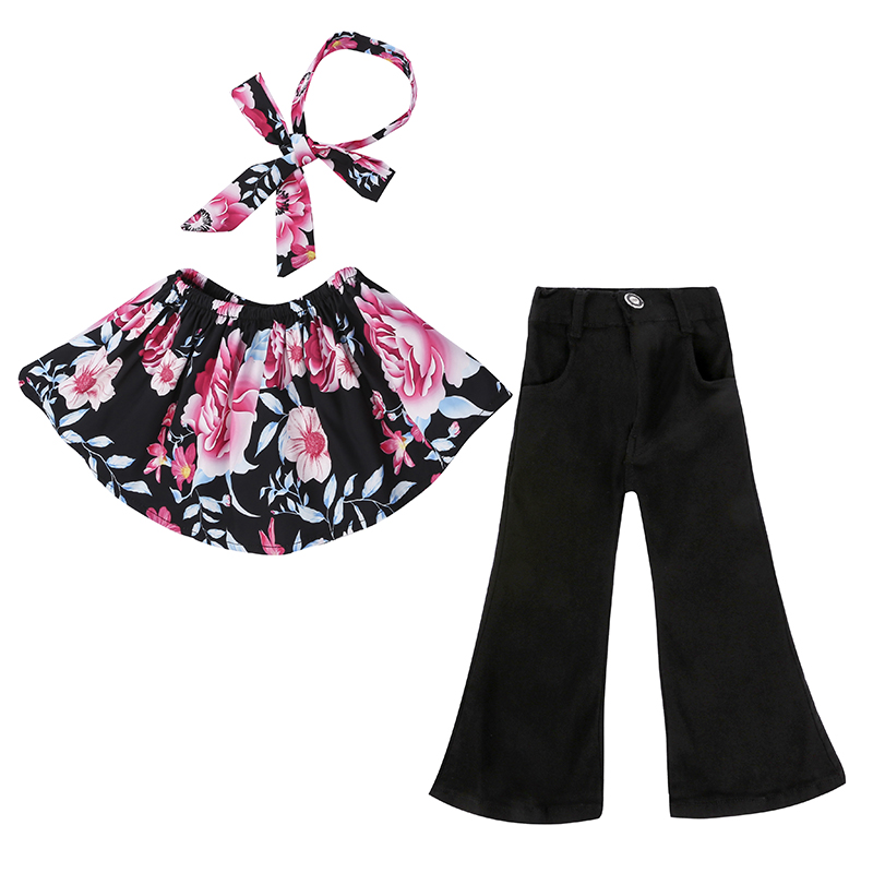 Children Sets for Girls Fashion 19 New Style Girls Suits for Children Girls T-shirt + Pants + Headband 3pcs. Suit ST307 43