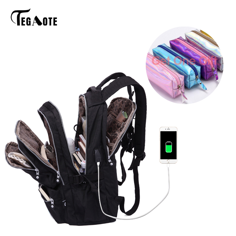 TEGAOTE Frauen Rucksäcke Anti Theft USB Ladung Laptop Bagpack Schule Taschen Für Teenager Mädchen Nylon Casual Mochila Reise Sac EIN dos