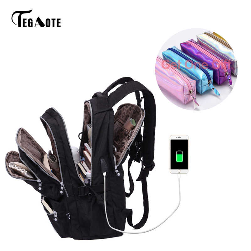 TEGAOTE Women Backpacks Anti Theft USB Charge Laptop Bagpack School Bags For Teenage Girls Nylon Casual Mochila Travel Sac A Dos