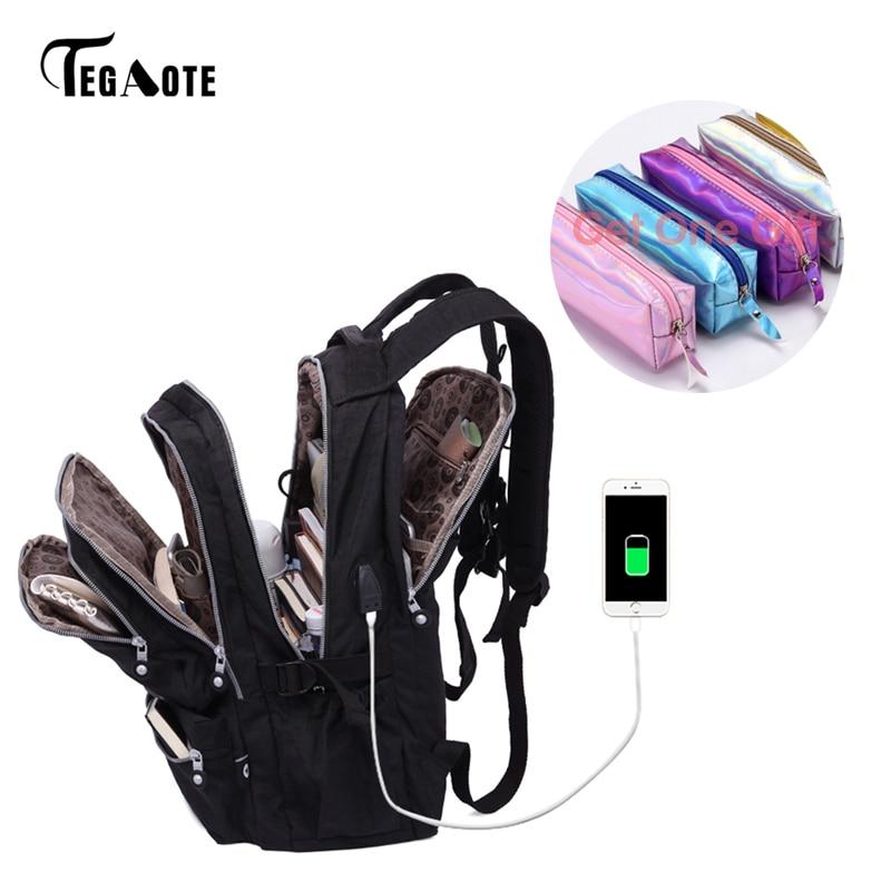 TEGAOTE mujeres mochilas Anti robo de carga USB ordenador portátil Mochila bolsas para la Escuela de las niñas adolescentes Nylon Casual Mochila de viaje de saco un dos