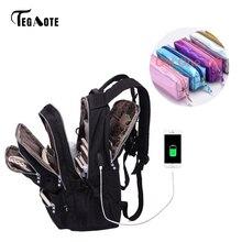 Tegaote mochilas femininas de nylon, antirroubo, carregador usb, bolsa de viagem para laptop, para adolescentes dos