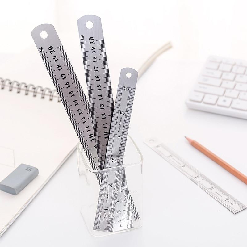 12pcs Stainless Steel Metal Straight Ruler 15/20cm Steel Ruler Fine Millimeter/Centimeter Scale Office Student Drawing Line Tool
