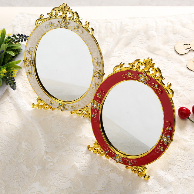 Vintage Makeup Mirror Desktop Rose Decor Oval Cosmetic Mirror Vanity