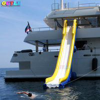HOT Factory price Inflatable floating water slide for boat , giant inflatable yacht slide for sale with frame