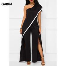 Genuo Elegant ruffle summer jumpsuit Women sexy one shoulder patchwork overalls Streetwear split wide leg jumpsuits rompers