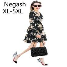 4624e2d384f Negash Plus Size 7XL 6XL 5XL Sexy V Neck Floral Print Boho Bohemian Knee-length  Dress