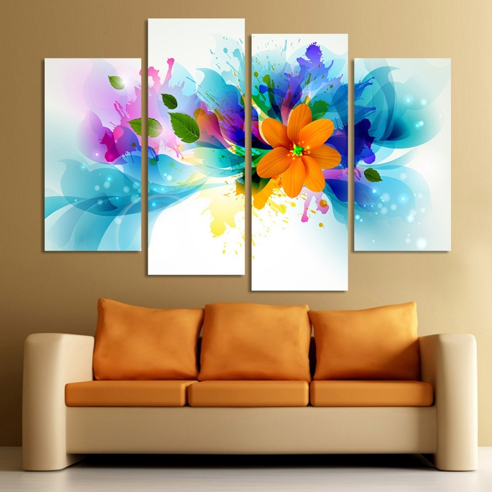 Rushed sale flower picture no unframed 4 piece canvas art for Canvas art on sale