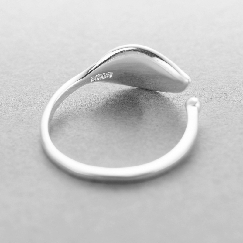 Image 4 - New 925 sterling silver fashion simple leaf ring female small fresh leaf rings adjustable forefinger silver 925 jewelry-in Rings from Jewelry & Accessories