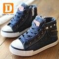 New 2015 Fashion Children Shoes Denim Jeans Zip High Children Sneakers Sports Boys Shoes Canvas Running Kids Shoes School