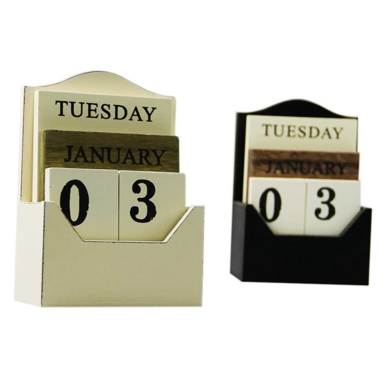Black / White Wood Desk Calendar Retro Vintage Wood Block Perpetual Calendar Wooden Environmental Office Home Desk Decor DiyBlack / White Wood Desk Calendar Retro Vintage Wood Block Perpetual Calendar Wooden Environmental Office Home Desk Decor Diy