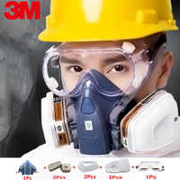 3M7502 industrial working mask 8-in-1 with 6001 / 5N11 organic gas protection PC mirror spraying chemical breathing