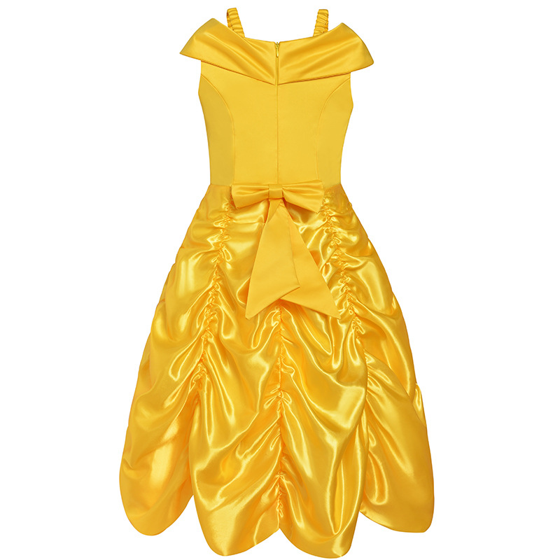 Belle Dresses for Kids Girl Dress Yellow Fancy Dress Children Cosplay Beauty Beast Belle Princess Costumes Party Dress Girls nnw beauty and the beast belle cosplay princess fancy kids costumes grils yellow dresses with sleeve hight quality