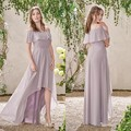 High Front Low Back Bridesmaid Dresses Boho Chiffon Boat Neck Wedding Party Wear Affordable Maid Of Hornor Dresses