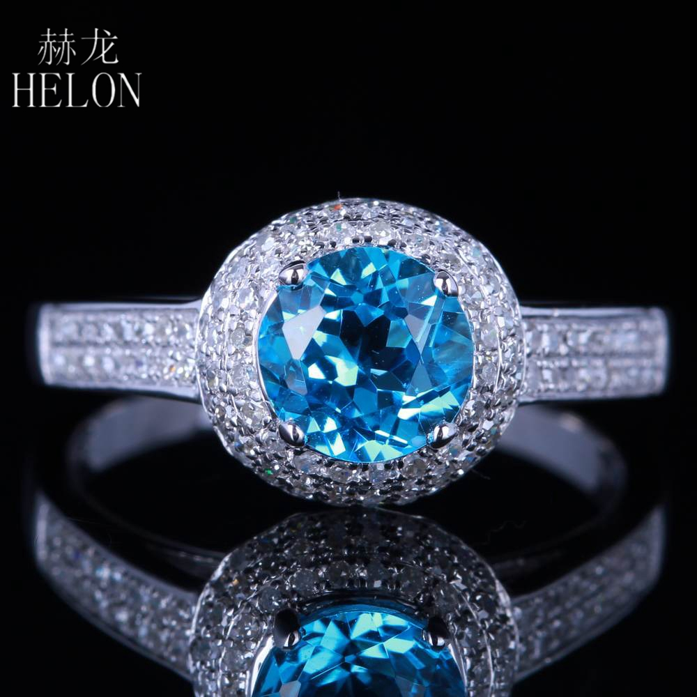 HELON Brilliant Solid 14K White Gold Solitaire 6.5mm Round 100% Genuine Blue Topaz Engagement Natural Diamond Wedding Fine Ring