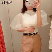 SuperAen 2019 Spring and Summer New Knit T Shirt Women Slim Fashion Puff Sleeve Ladies T Shirt Short sleeved Casual Tops Female