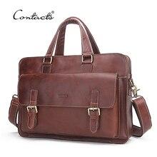 CONTACT'S Genuine Leather Men Bags Genuine Cow Leather Male Bag Men's Briefcase Laptop Shoulder Bags Man Messenger Handbags