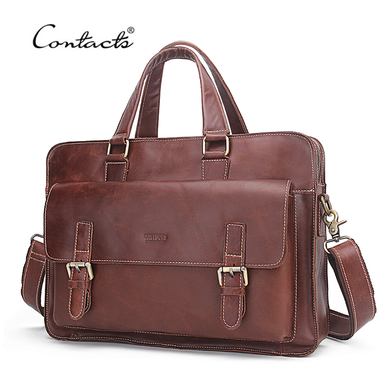CONTACT'S Genuine Soft Leather Men Business Bags Genuine Cow Leather Male Zipper Laptop Bag For Men's Briefcase Shoulder Bags genuine leather